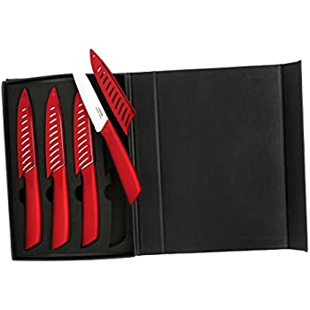 Amazon Com Melange 8 Piece Ceramic Steak Knife Set With
