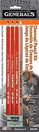 General's Charcoal Drawing Set, White/Black, Set of 4 Pencils and 1 Eraser