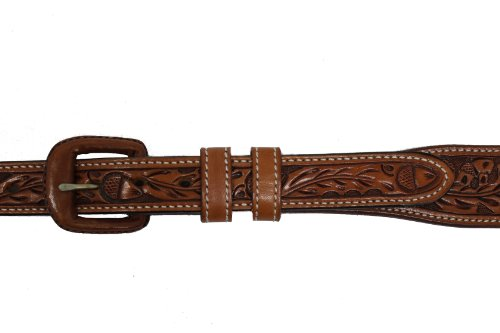 - Vogt Silversmiths Western Leather Belt - Hand Tooled Acorn and Oak Leaf Detail 1 Inch Wide Tab, Russet, Size 42