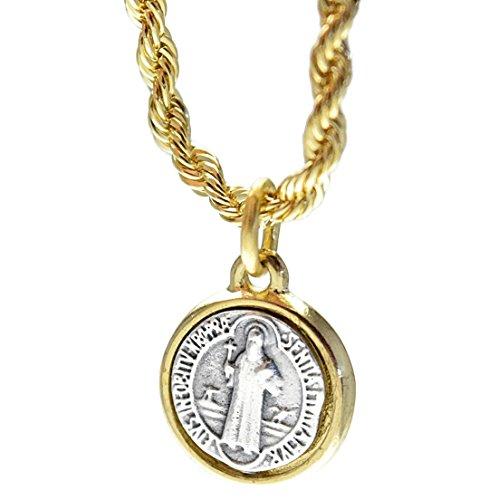 Small Medalla De San Benito 15 mm Medal Saint St Benedict Micro Pendant 24 Inch Rope Chain - Chain 15mm Rope
