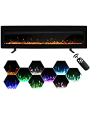 Maxhonor Electric Fireplace Recessed Wall Mounted Freestanding Heater with Remote Control Timer 9 Flame Colors 5 Flame Settings Metal Panel, 1500/750W,(50 Inch, Black)