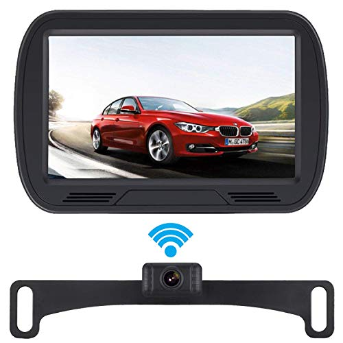 """Yakry HD Digital Wireless Backup Camera System for RV/Cars/Trailers/Truck 5"""" Monitor Kit Rear/Front View Camera Reverse/Continous Use Guide Lines ON/Off IP69 Waterproof"""