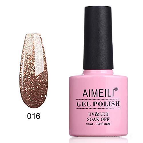 AIMEILI Soak Off UV LED Gel Nail Polish - Tinsel Toast Gold Diamond (016) 10ml