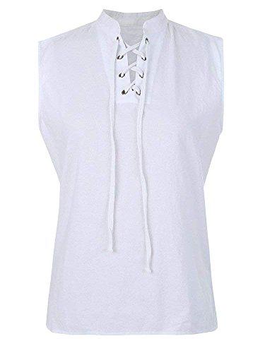 Mens Renaissance Pirate T Shirts Viking Medieval Sleeveless Lace Up Costume Scottish Cotton Tank Top -