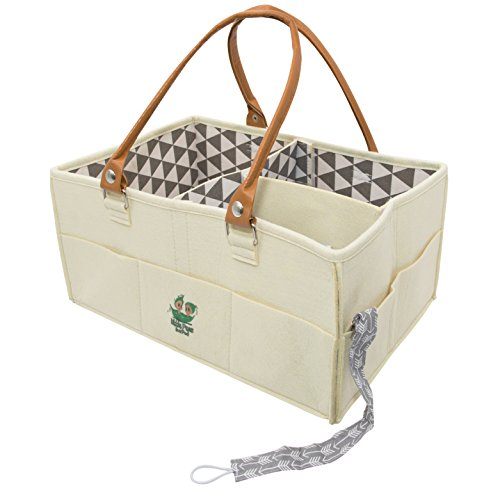 Baby Diaper Caddy Organizer - Nursery Storage | Bin & Tote Bag for Car Travel and Portable for Girls & Boys for Changing Table Breast Feeding Essentials | Newborn Infant Toddler Registry Must Have ()