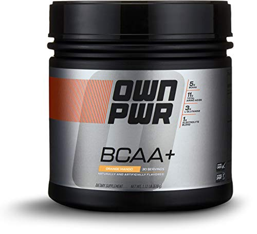 Amazon Brand – OWN PWR BCAA+ Powder, Orange Mango, 30 Servings, Micronized Branched Chain Amino Acids with Glutamine, Electrolytes & More