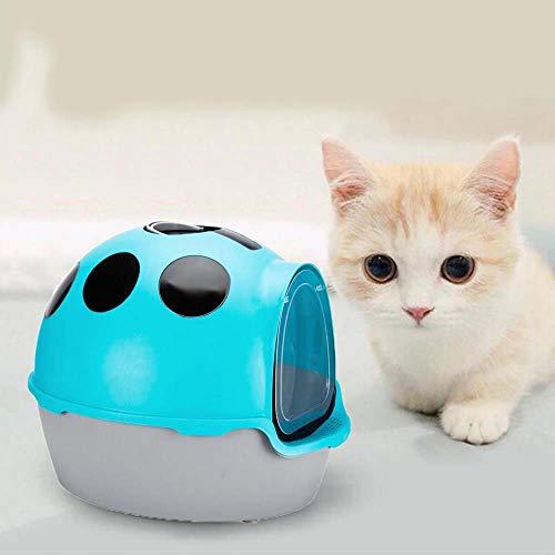 Fully Enclosed Cat Toilet Cat Litter Box with Shovel, Ladybug Style/Anti-Splashing/Detachable, Cat Litter Tray, Blue