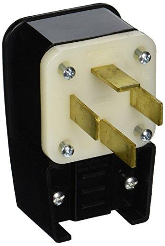 Leviton 8362-P 60 Amp, 277 Volt, Straight Blade, Plug, Industrial Grade, Angle, Non-Grounding, Black