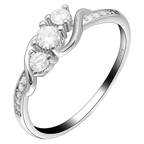 Ginger Lyne Collection Lydia 3 Stone Engagement Wedding Ring 925 Sterling -