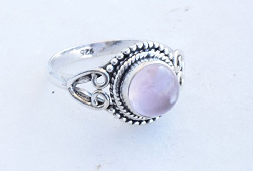 (925 Sterling Silver Pink Rose Quartz Ring Size US 8 - Rose Quartz Stone Gemstone Statement Ring Gift Jewellery For Girl Women )