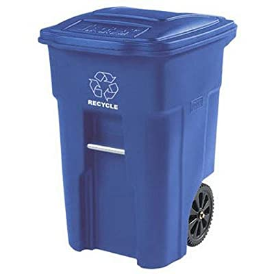 Toter Residential Heavy Duty 2-Wheeled Recycling Container Cart with Attached Lid, Blue