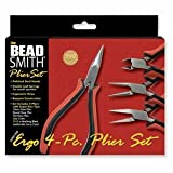 Beadsmith Super Fine Jewelry Pliers Ergonomic Tool Kit 4 Piece w/ Case