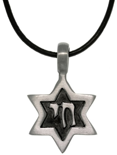 Jewelry Trends Pewter Star of David Pendant with 18 Inch Black Leather Cord Necklace