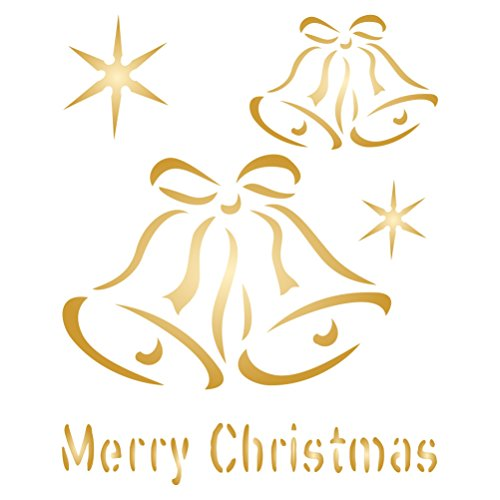 """Christmas Bells Stencil (size 3.25""""w x 4""""h) Reusable Stencils for Painting - Best Quality Christmas Project Ideas - Use on Walls, Floors, Fabrics, Glass, Wood, Cards, and More..."""
