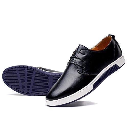 KONHILL Men's Casual Oxford Shoes Breathable Flat Fashion Lace-up Dress Shoes, Black, 46 by KONHILL