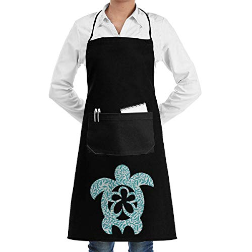 booskaneews Men & Women Kitchen Long Aprons Hawaiian Sea Turtle Clipart Baking Sleeveless Overalls Portable Pocket Design ()