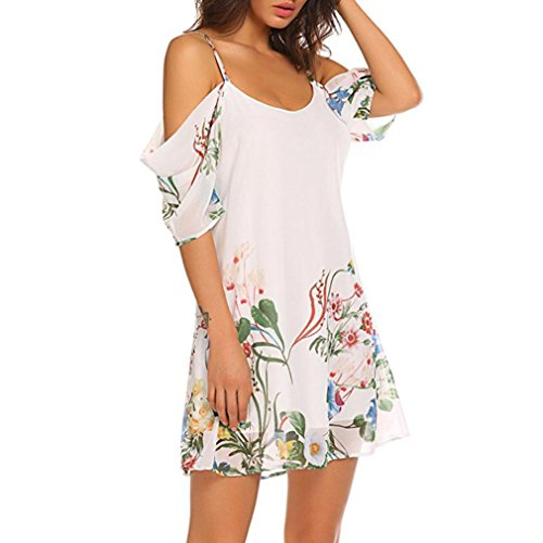 t Robe lgant paules Sling Courte Bohme Femmes Floral Dnud Robe Bretelle Impression SANFASHION Blanc dCqT6WUnd