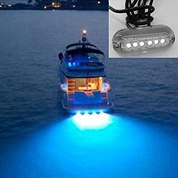 Longitud del Cable: 1.2 m Color : Green Light 6 Leds Luz de Pesca subacu/ática IP68 Impermeable Luz Nocturna del Paisaje Agua Iluminaci/ón para embarcaciones Marinas DC 12V Proyectores de Exterior