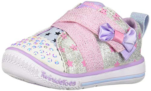 Skechers Kids Girls' Twinkle Play-Sparkle Shines Sneaker, Silver/Pink, 9 Medium US - Toes Twinkle