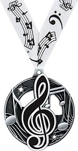 ミュージックメダル - 2.25インチ シルバー ミュージックメダル 賞 プライム B07GBGVM56