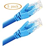 JH-Link Cat 6 Ethernet Cable 10 Ft 5Pack Gigabit Wired Network Internet Patch Cable Computer Router Modem RJ45 Connectors Cord (Blue)