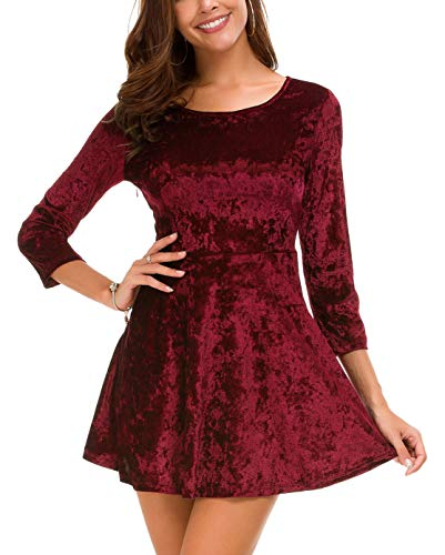 DGMYG Women's 3/4 Sleeve Round Velvet Skater Casual Swing Flared Short Mini Dress XL Wine