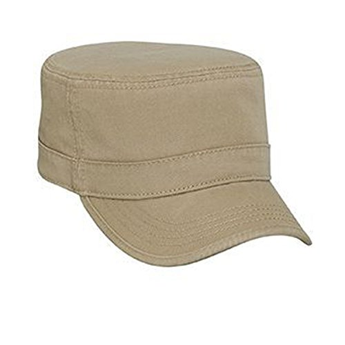 (Otto Caps Superior Garment Washed Cotton Twill Binding Trim Visor Solid Color Military Style Cap)