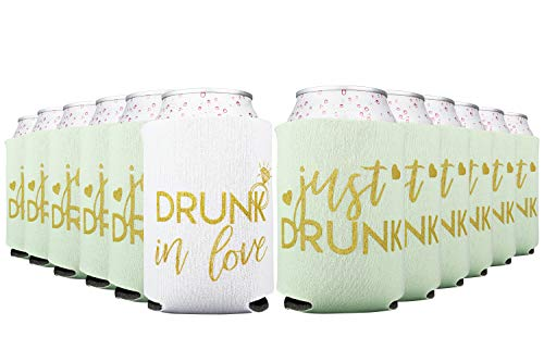 Drunk In Love and Just Drunk Bachelorette Party Can Coolers, Set of 12 White and Mint Green Beer Can Coolies, Perfect Bachelorette Party Decorations and Brides Maid Gifts (Mint Green)]()