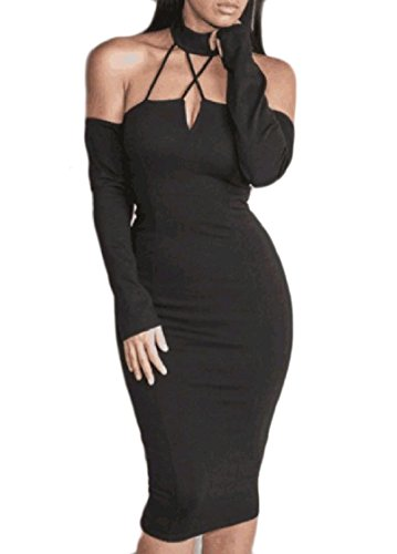 Backless Black Solid Dress Hollow Club Shoulder Halter Women's Off Coolred ZIC6q6