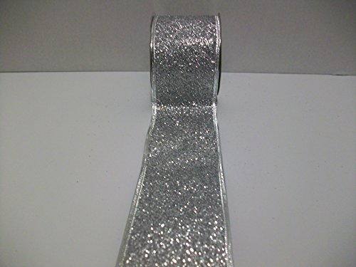 Ribbon Wired Metallic (Glitter Silver Metallic Sparkle Ribbon Wired Edge Gift Wrapping, Christmas Ribbon 2-1/2