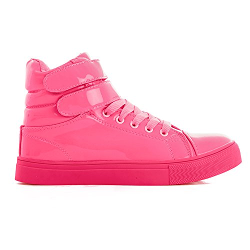 Alexandra Collection Womens Liquid Shiny High Top Hip Hop Dance Sneakers Pink 11