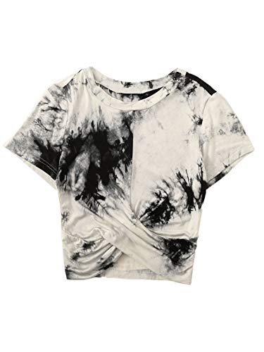 Floerns Women's Summer Crop Top Short Sleeve Tie Dye Twist Front T-Shirt Black and White ()