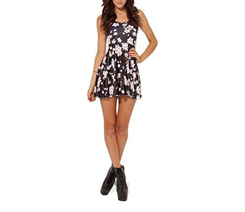 SOTW Fashion Summer Pleated Knee-length Reversible Spandex Skater Sun Dress for Women, Cherry Blossom, Black