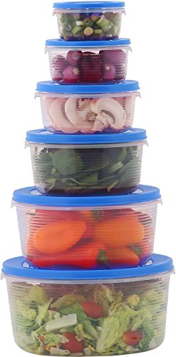 Milton Mixing Bowls with Lids- Airtight Food Storage Containers, BPA Free Plastic- Nesting Meal Prep Bowl set- (Set of 6) - Blue by Milton