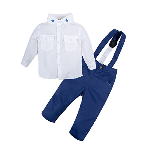 BIG ELEPHANT 2 Pieces Baby Boys Long Sleeve Shirt Suspender Pant Set Q20-80 6-12 Months