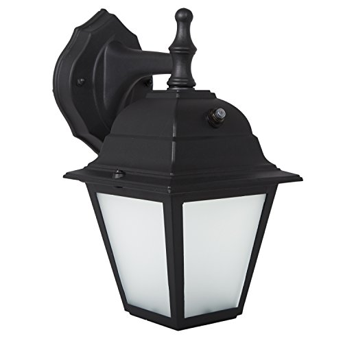 Maxxima LED Porch Lantern Outdoor Wall Light, Black w/Frosted Glass, Photocell Sensor, 700 Lumens, Dusk to Dawn Light Sensor, 3000K Warm White