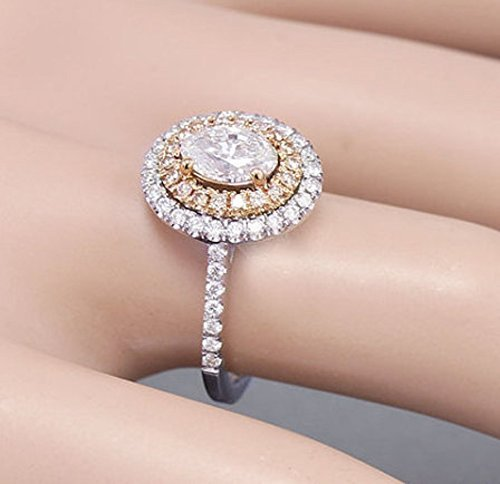 076349f9543bc Amazon.com: 14k White Rose Gold Oval Cut Simulated Diamond ...
