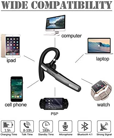 ICOMTOFIT Bluetooth Headset, Wireless Bluetooth Earpiece V4.1 Hands-Free Earphones with Built-in Mic for Driving/Business/Office, Compatible with iPhone and Android-Gray