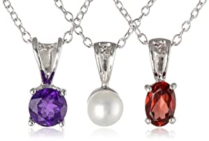 Sterling Silver Garnet, African Amethyst and White Chinese Freshwater Cultured Pearl (4.5-5mm) Pendant Necklace Jewelry Set from PAJ, Inc