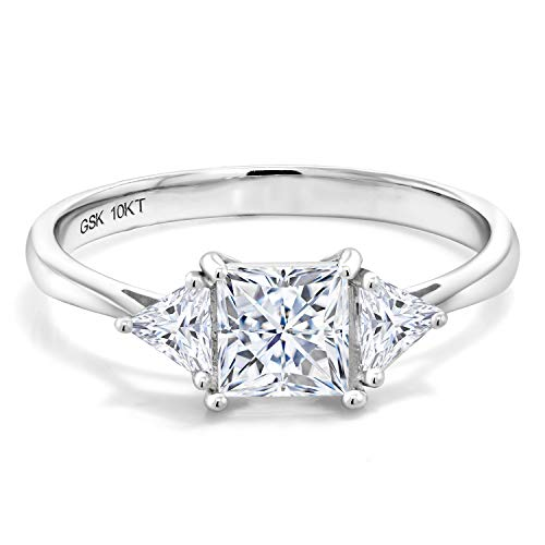 Gem Stone King 10K White Gold Created Moissanite Women Solitaire Engagement Ring (1.12 Cttw, Available in size 5, 6, 7, 8, 9)
