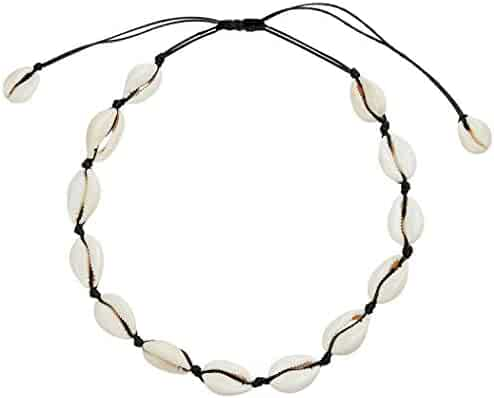SXNK7 Natural Shell Necklace Choker for Women Girl Bead Pearl Handmade Hawaii Wakiki Beach Rope Jewelry (Black Weaving Necklace)