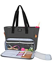 CURMIO Yarn Storage Bag, Knitting Tote Bag for WIP Project, Crochet Hooks, Knitting Needles and Yarn Skeins, Bag Only, Black (Patented Design)