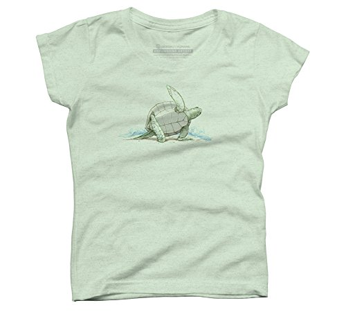 Yoga (Turtle) Girl's X-Small Mint Youth Graphic T Shirt - Design By Humans