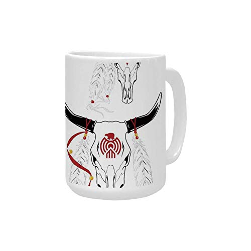 Tattoo Decor Ceramic Mug,Bulls Head with Feather of Bird as Accessory with Tribal Designes for - Mug Bulls Ceramic