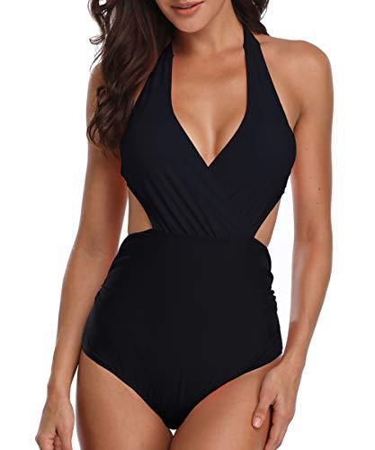 Sexy Glamour Plunge Bra (Century Star Women Plus Size One Piece Swimsuit Halter High Waist Swimwear Cut Out Surplice Neckline Monokini Black Small (fits Like US 4-6))
