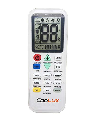 Coolux Universal Air Conditioner Remote Control for Most Brand Big Screen LED Light (Big led)
