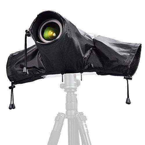 Zecti Camera Rain Cover Rainproof Protector Waterproof Raincoat for Canon Nikon Sony Olympus Fuji Pentax Panasonic DSLR Cameras Black