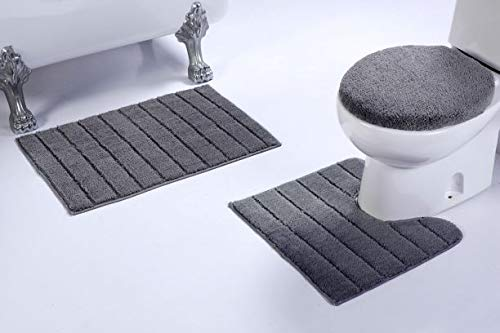 Luxury Home Collection 3 Piece Microfiber Bathroom Rug Set Non-Slip Bathroom Rug Contour, Mat and Toilet Lid Cover #670 (Gray, 3 PCE Set) ()
