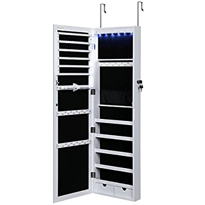 SONGMICS 6 LEDs Jewelry Cabinet Lockable Wall Door Mounted Jewelry Armoire Organizer