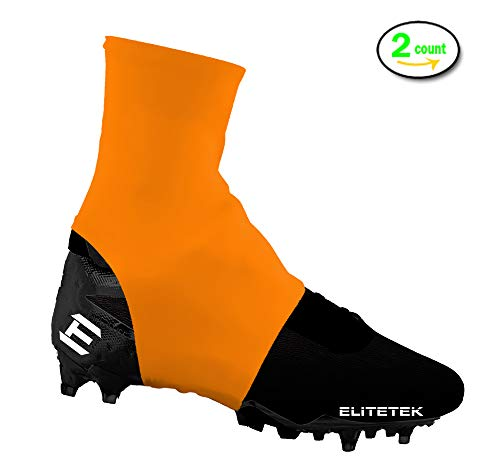 EliteTek Cleat Covers, Spat Wrap, Shoelace Cover, 7v7 Swag - Youth & Adult Sizes (Orange, Medium)